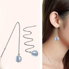 2015 Top Quality! Fashion Star Style Silver Plated Opal natural stone Fashion Super Long Drop Dangle Earrings Ear Studs 10 mm