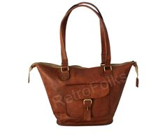 Vintage Style Handmade Large Leather Shopping Bag by RetroFolks