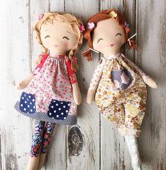 """Handmade Cloth Dolls - SpunCandy Dolls ~ Omaha, NE (@spuncandydolls) on Instagram: """"Two Peas in a Pod ❤#handmadedolls #clothdolls #spuncandydolls #shopisopen #availablenow…"""""""