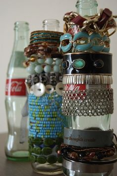 coke bottles as bracelet organizers - why haven't i thought of this before?