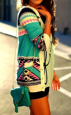 Lovely Mint Aztec Print Slouchy Cardigan Fashion
