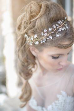 Romantic wedding hair with jeweled hair piece. Hair: Cassandra Rose
