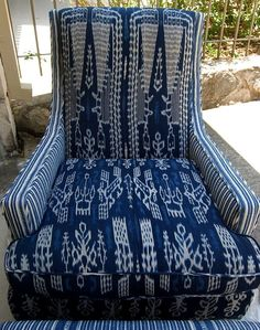 What a beautiful chair covered in ikat fabric!