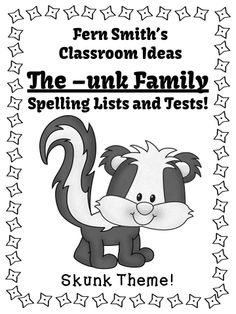Fern's Freebie Friday ~ FREE Spelling The -unk Family Word Work Lists
