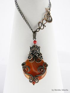 Kelyn wire wrapped pendant agate copper handmade by MeaJewelry