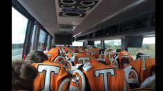 The Pride-people get out of the way when 13 buses escorted by Tennessee state troopers come flying down the road!