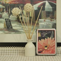 """decorative balls on the end of dowels (or a painted pencil) for perminent """"flowers"""".  Maybe for the bathroom?"""