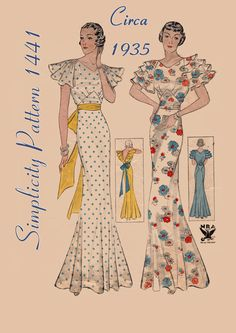 """Vintage Sewing Pattern Rare Ladies 1930's Evening Gown Simplicity 1441 32"""" Bust. $195.00, via Etsy."""