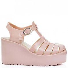 VISOR Wedge Heel Flatform Jelly Platform Sandal Shoes Nude (£17) ❤ liked on Polyvore featuring shoes, sandals, nude platform shoes, flatform sandals, jelly platform sandals, jelly shoes and nude shoes