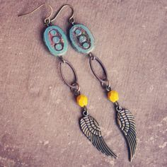 joyce  a pair of teal and mustard rustic wing by RootsandFeathers, $24.00