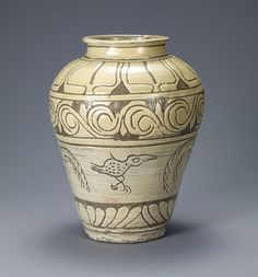 Jar with decoration of birds and willows. Korean, Joseon dynasty (1392-1910); second half of the 15th century. Buncheong with incised and sgraffito design. Leeum, Samsung Museum of Art, Seoul.