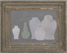 Muted green double gourd - Original acrylic painting on wood in antique frame by Peter Woodward