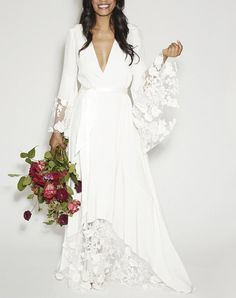 VikDressy 2017 Fall Winter Bohemian Beach Lace Flower Wedding Dresses Boho VNeck Long Sleeves Chiffon Bridal Gowns * Look into the photo by visiting the link. (This is an affiliate link). Wedding Dress Over 40, Wedding Dresses With Flowers, Bohemian Wedding Dresses, Wedding Dress Shopping, Perfect Wedding Dress, Bride Dresses, Older Women Wedding Dresses, Boho Gown, Lace Dresses
