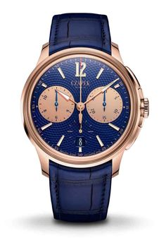"""The Faubourg de Cracovie, named after the location of François Czapek's third boutique in Warsaw, Poland, is Czapek's refined and muscular integrated chronograph. Previously only available in titanium and steel, now the Geneva-based maison is for the first time proposing its sporty model with a shining 41.5mm gold case and chronograph counters, combined with a fascinating blue handcrafted guilloche dial with the """"Résonance"""" pattern. #limitededition #limitededitionwatch #luxurywatch #menswatch Limited Edition Watches, 3 O Clock, Glass Boxes, Gold Hands, Chinese Culture, Luxury Watches, Watches For Men, Rose Gold, Warsaw Poland"""