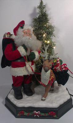 Santa Claus Animated Motionette Reindeer & Tree 1996 Smile Ltd. RARE