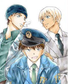In the event that Conan finally returns to his life as Shinichi, who will be successful in recruiting him? Akai and the FBI or Amuro and Japan's NPA? Conan Comics, Detektif Conan, Magic Kaito, Detective Conan Gin, Manga Anime, Anime Art, Detective Conan Wallpapers, Kaito Kid, Haikyuu Karasuno
