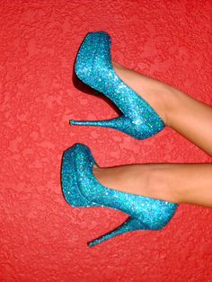 Sparkle blue pumps.
