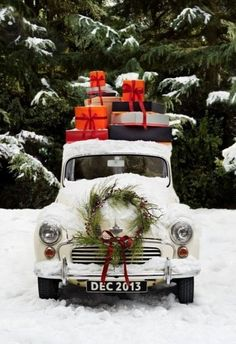 Super cute Christmas decor - vintage pickup truck -55 chevy truck--