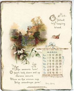 month march 1898 : Golden words from Tennyson (raphaël tuck) Vintage Ephemera, Vintage Cards, Vintage Paper, Vintage Images, Vintage Labels, Print Calendar, Calendar Pages, Calendar March, Vintage Calendar