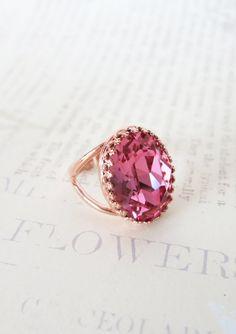 Rose Gold Swarovski Crystal Cocktail Ring - Rose Pink Oval Crystal Rose Gold Adjustable Ring, simple, sparkly, chic, elegant, fashion, by ColorMeMissy, www.colormemissy.com