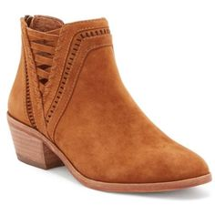 Vince Camuto  Pimmy Split Sides Bootie ($139) ❤ liked on Polyvore featuring shoes, boots, ankle booties, cognac, perforated ankle boots, block heel ankle boots, long boots, bootie boots and vince camuto bootie