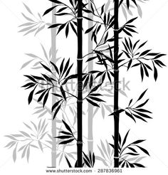 Brierfield Tree of Life Silhouette of Spiritual Bamboo Tree Leaves Japanese Zen Feng Shui Boho Image Graphic Print & Text Semi-Sheer Rod Pocket Curtain Panels Bamboo Roof, Bamboo Art, Stencil Designs, Paint Designs, Japanese Bamboo, Bamboo Leaves, Leaf Background, Seamless Textures, Tree Leaves