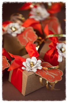 Fall Wedding Favor Boxes from a Cupcake With Character photo shoot - includes handcrafted monogrammed tag and paper flower constructed from love letter specialty paper. We can make your own custom favors for your wedding!