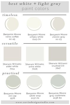 Whites and grays are super trendy right now but it is hard to know which one to pick. Here are my BEST WHITE PAINT COLORS! Whites and grays are super trendy right now but it is hard to know which one to pick. Here are my BEST WHITE PAINT COLORS! Light Grey Paint Colors, Wall Colors, House Colors, Paint Colours, Best Neutral Paint Colors, White Colors, Best White Paint, White Paints, Interior Paint Colors