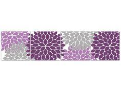 Home Decor Wall Art 12x12 Purple Grey Bedroom Decor Flower Burst ...