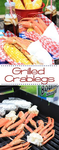 Grilled Crab Legs for your Summer BBQ! - You won't get this amazing sweet smoky flavor with steamed crab legs - try this EASY method for grilled crab legs on your backyard BBQ this summer! Steamed Crab Legs, Steamed Crabs, Grilled Crab Legs, Grilled Seafood, Fish And Seafood, Seafood On The Grill, Seafood Bbq, Seafood Broil, Seafood Dishes