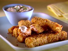 Parmesan crusted salmon fish sticks - A healthy and delicious snack courtesy of Giada. :-)
