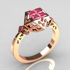 Classic Contemporary 14K Rose Gold .40 Princess Cut Invisible Rose Topaz Solitaire Azteca Ring
