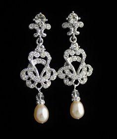 Bridal Chandelier Earrings, Crystal Bridal Jewelry, Crystal and Pearl Earrings, Vintage Wedding Jewelry CELINE on Etsy, $49.00