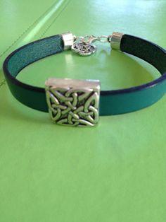 Leather Celtic Silver Bracelet by joytoyou41 on Etsy, $30.00