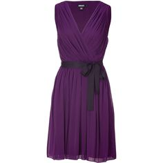 DKNY Blueberry Pleated Silk Dress (£235) ❤ liked on Polyvore featuring dresses, vestidos, purple dresses, short dresses, party dresses, purple cocktail dress, mini dress, night out dresses and purple party dresses