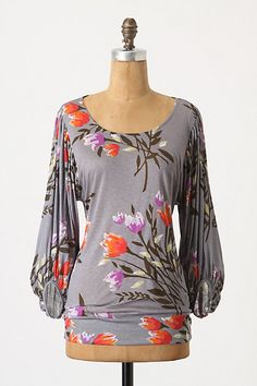 Anthropologie Looking Forward Top  Effortless drapes give way to a wink of drama in ruched and flowing sleeves. By Deletta.