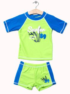 Surfer 89 Rashguard Set. Size 12 to 4T. Available in green and blue only $14.99