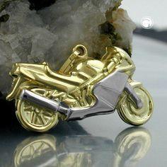 Anhänger 28mm Motorrad bicolor 9Kt GOLD accessorize24-430909
