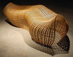 Undulating Wood Bench by Matthias Pliessnig