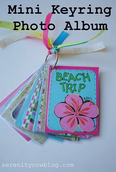 """Mini Keyring Photo Album...great way to take a moment to """"go back"""" and remember that vacation or trip :)"""