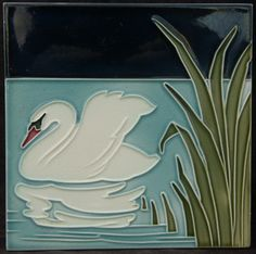 Boizenburg German Swan Tile Majolica Circa 1900 Antique Nouveau
