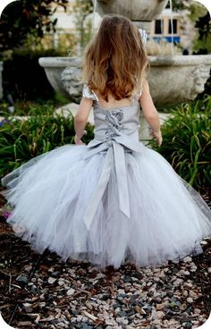 Satin top with lace up back. Platinum colored tutu skirt..Adorb!! - Etsy - BellaBeanCouture