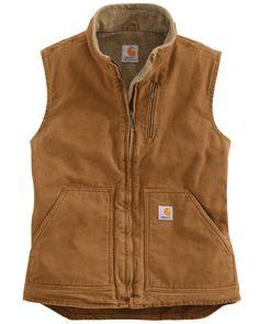 Carhartt Women's Mock Neck Sandstone Sherpa Lined Burlwood Vest Size XXL 20