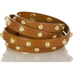 Brahmin Stud Wrap Bracelet (105 CAD) ❤ liked on Polyvore featuring jewelry, bracelets, accessories, bijoux, tobacco, leather snap bracelet, leather wrap around bracelet, leather wrap bracelet, gold tone bracelet and adjustable bracelet