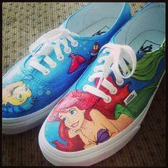 Disney Little Mermaid custom painted Vans/Chucks/Toms shoes