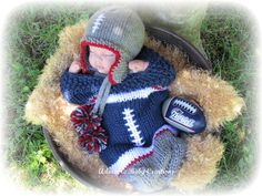 Baby Football Hat Helmet and Matching by AdorableBabyCreation