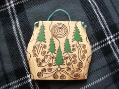 forest / wood burning / spiral / pyrography / wall hanging / in colors / handmade / mystical / pagan / fantasy / roots / spruce tree /