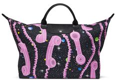 For the 21st time since 2006, Jeremy Scott has reworked Longchamp's legendary Pliage bag, this time with a galaxy of stars and pink telephones.
