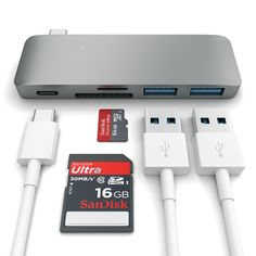 Satechi Type-C USB 3.0 3 in 1 Combo Hub for New MacBook 12-Inch (with USB -C Charging Port) (Space Grey)