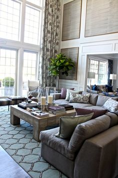 2012 Hampton Designer Showhouse Lillian August 'Great Room' Floor to Ceiling Windows and Amazing Details